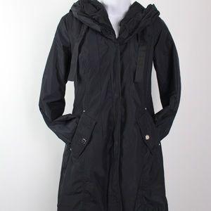 Laundry by Shelli Segal black hooded rain coat
